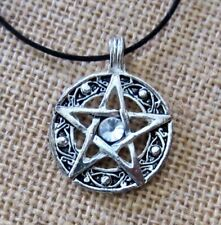 PENTAGRAM PENTACLE PENDANT BLACK CORD NECKLACE CLEAR CRYSTAL WICCA GOTHIC new