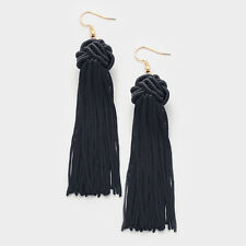 Knotted Fabric Tassel Statement Earring Set Multiple Colors Available