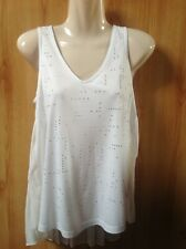 NEXT Beautiful Ivory Sleeveless Sparkly Long Line Top with Pleated Back Size 6