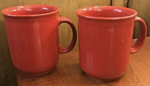 Set Of 2 Pier 1 Red Earthenware 16 Ounce Coffee Mug Cup Stoneware Unused