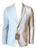 Giacca Blazer Elegante Tessuto Operato Uomo JEYCOLEMAN Estiva Bianco Panna Tg 50