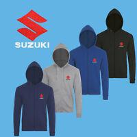 Suzuki Felpa Cappuccio Cerniera Ricamato Moto Logo Hoodie Hoody Sweatshirt Uomo