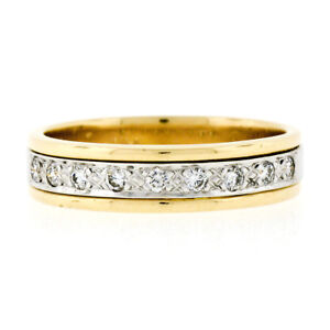 Estate Men's 14K Two Tone Gold 0.25ctw Round Pave Set Diamond Wide Band Ring