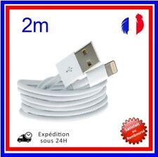 CABLE POUR IPHONE X 8 7 6 5 SE PLUS IPAD CHARGER USB RENFORCÉ BLANC  2M
