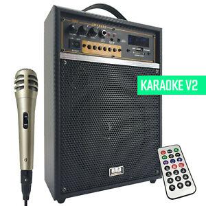 300W Rechargeable Karaoke Amplifier Speaker Combo Bluetooth MIC SD USB ECHO V2