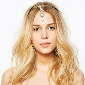 Immitation Pearl Bindi Hair Pin Clip Chain Tikka Kundan Indian Boho Headpiece
