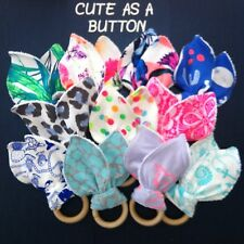 Teething Ring / Bunny Ear Toy / Wooden Ring- Great Shower Gift Bonds Matching
