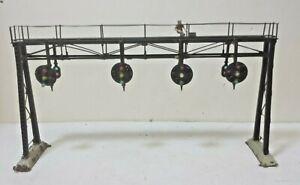 Brass Model -- 4 Railroad Track Signal Bridge NOT operating signals HO Scale