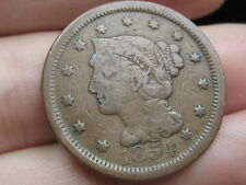 1854 Braided Hair Large Cent Penny- Very Thin Planchet!