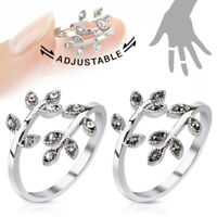 Leaves With Paved Gems Adjustable Rhodium Plated Brass Toe Ring / Mid Rings