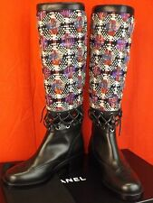68361710d3b 16k CHANEL Multi Color Tweed Leather Cutout Corset Tall Runway BOOTS 41 K
