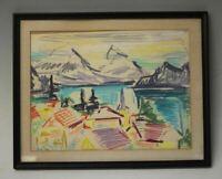 Werner Drewes Landscape Drawing 1960's Signed Framed Original Art Decor NYC