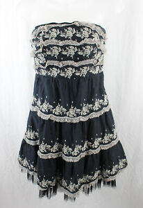 Free People Black Ivory Embroidered Strapless A Line Mini Dress Size 2