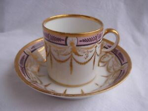 ANTIQUE FRENCH PARIS PORCELAIN CUP & SAUCER,EARLY 19th CENTURY.