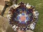 Rare Crimped Millersburg Persian Garden Carnival Glass Bowl ~ Radium ~