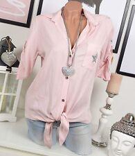 Sale 🌸 🌹🌸 HEMD Bluse OVERSIZE binden VINTAGE Fischerhemd Stern Rosa 36 38 40