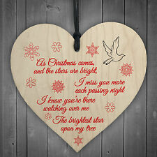 Brightest Star On My Tree Wooden Hanging Heart Memorial Plaque Christmas Decor