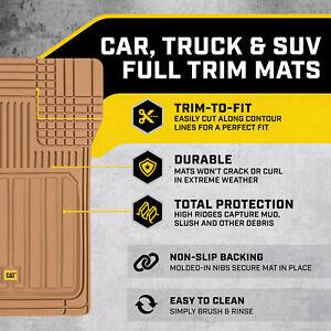 All Weather Car Floor Mats, Full Rubber Liner Set Includes Front Rear Mat, Beige