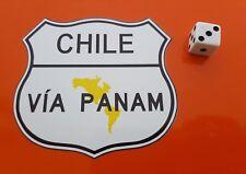 PAN American Highway CILE tramite adesivo decalcomania in vinile PANAM 85mm x 90mm
