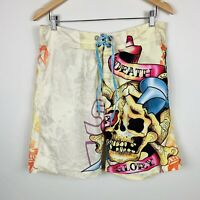 Ed Hardy Mens Board Shorts Size 32 Swim Shorts Retro Skull Design Made USA