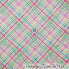 BonEful Fabric FQ Flannel White Pink Yellow Green Blue GIRL PLAID Sm Baby Stripe