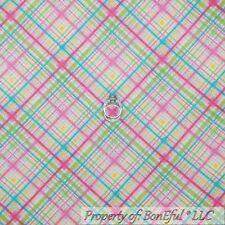 BonEful Fabric FQ Flannel White Pink Yellow Green Blue GIRL PLAID Baby Stripe US