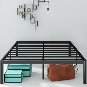Platform Bed Frame metal 16 Inch with Steel Slat Support / Mattress Foundation,