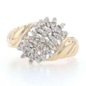 Yellow Gold Diamond Waterfall Cluster Bypass Ring - 10k Single Cut .28ctw Ribbed
