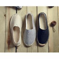 New Men Summer Cotton Linen Flats Breathable Soft Casual Home Sandals Monk Shoes