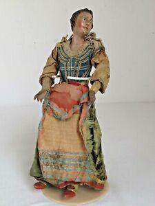 Antique 18th c. Neapolitan Creche Female Figure Original Clothes