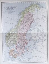 OLD ANTIQUE MAP SWEDEN  NORWAY DENMARK c1880's by COLLINS 19th C SCANDINAVIA