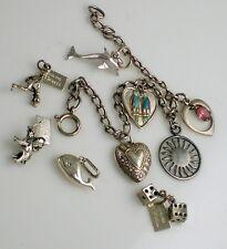 Vintage Sterling Silver Enamel Birds Sun Elephant Repousse Heart Charms Bracelet