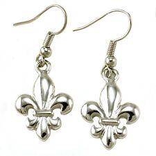 Fleur De Lis Lily Flower Dangle Earring High Polish Silver Tone Jewelry Charm g1