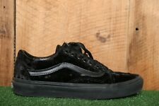 VANS 'Old Skool' Black Velvet Skate Shoes Men's 7 | Women's 8.5