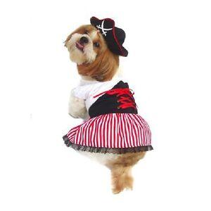 Lady Pirate Dog Costumes Dress Your Pup Nautical Halloween Sailor Dress & Hat