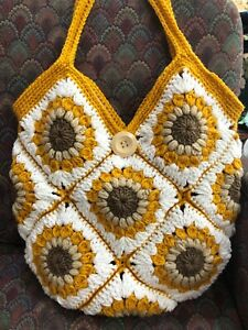 Crochet Granny Squares Sunflowers Shoulder bag New