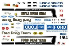 Official FORD Drag Team 1/64th HO Scale Slot Car Waterslide Decals NHRA Drag