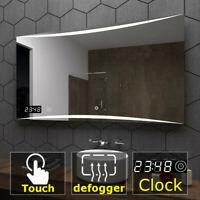 Hobart Badspiegel mit LED Beleuchtung Spiegel Heizmatte Touch Sensor Uhr A10