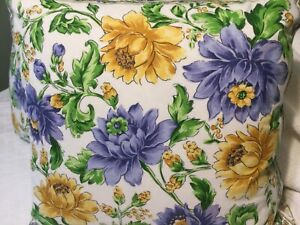 """2 April Cornell Floral Pillow Covers Yellow Blue Floral  Button Closure 19 X 19"""""""