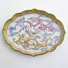 19th CENTURY CHINESE CANTON ENAMEL OVAL DISH WITH TWIN DRAGON DECORATION