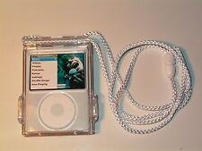 iPod Nano 3rd Generation 4GB 8GB Clear Cyrstal Case belt clip & Lanyard