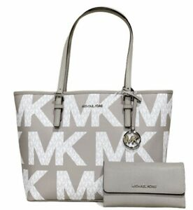 Michael Kors Medium Carryall Tote Graphic Logo White MK + Grey Trifold Wallet
