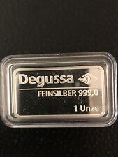 Degussa Silberbarren 1 Unze 999/1000 Feinsilber Original PP in Kapsel