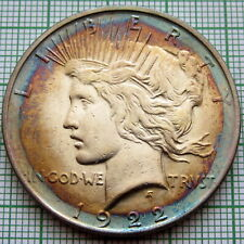 UNITED STATES 1922 D PEACE DOLLAR, DENVER MINT SILVER COLOR TONED