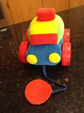 PLUSH INFANTINO BABY PULL CAR COLORFUL RED SQUEAK STUFFED LOVEY TOY