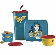 Tupperware Wonder Woman Lunch SetSandwich Keeper, 2-Snack Cups & Tumbler.