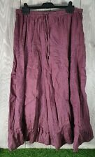 Ladies MONSOON Gypsy Skirt Size 14 Elasticated Waist Cotton Mulberry 💥