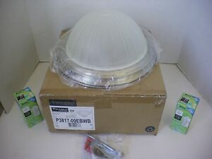 Progress Lighting P3817-09 Brushed Nickel Flush Mount Ceiling Light w/2 CFLs!!