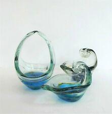 3 x BLUE GREEN VENETIAN ART GLASS DISHES BOWLS
