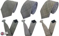 British Woven Prince of Wales Check and Houndstooth Tie and Clip On Ties